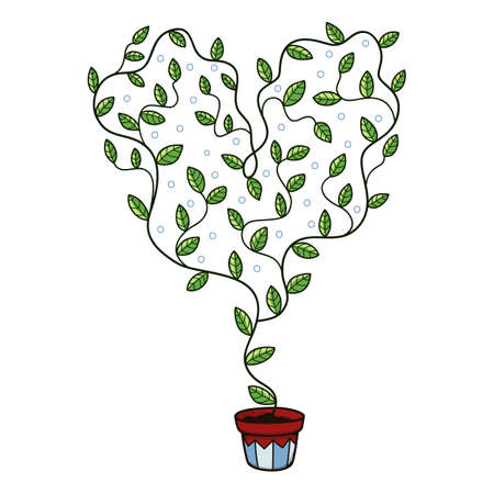 fondle: Heart with leaves growing in a pot. Illustration