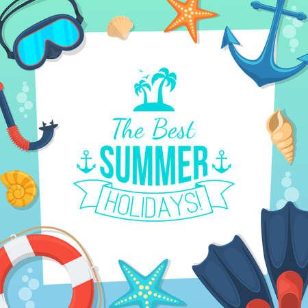 férias: Costa do mar e acessórios de natação.