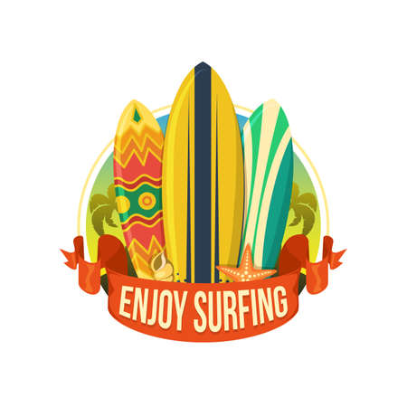 surfing beach: Surfing boards. Illustration