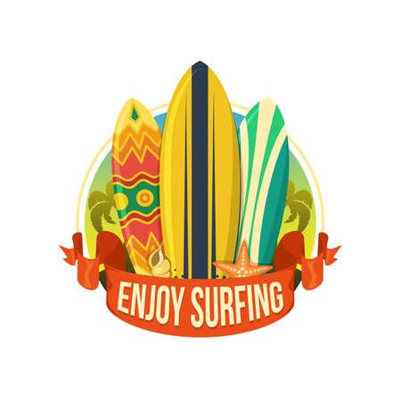Surfing boards. Illustration