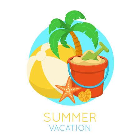 beach ad: Tropic beach symbol. Illustration