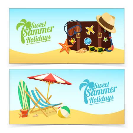 vacaciones en la playa: Banners de viajes de verano.