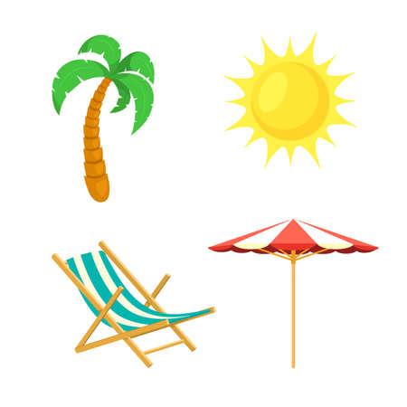 Palm tree, sun, umbrella, deck chair.