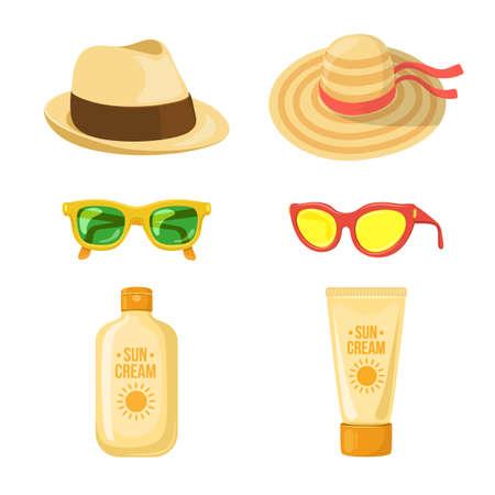 太陽のクリーム、メガネと帽子。