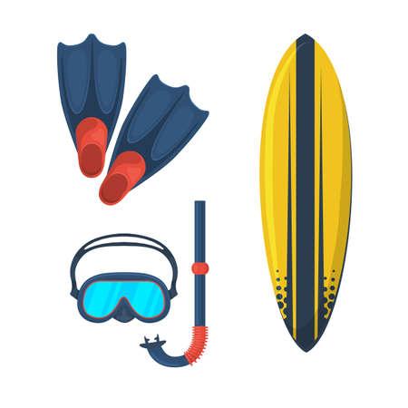 flippers: Gafas de m�scara. Flippers. Tabla de surf. Vectores