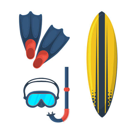 flippers: Goggles mask. Flippers. Surfing board.