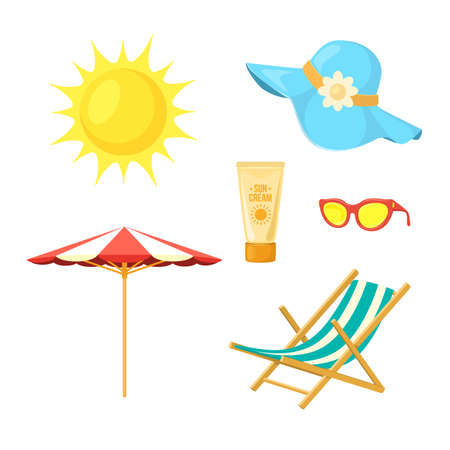 Sun, deck chair, sun protective accessories. Illustration