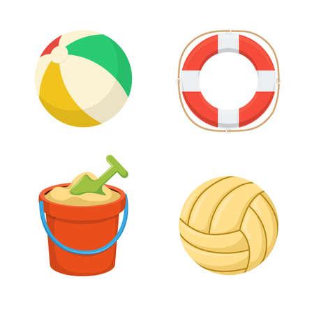 vacaciones en la playa: Bolas. Lifebuoy. Cubo de arena.