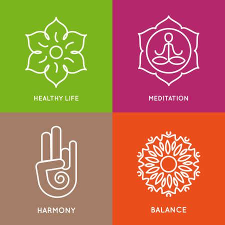 silueta humana: Símbolos de línea Yoga en cuadrados de colores.
