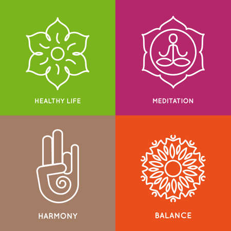 Yoga lijn symbolen in kleurrijke vierkanten.