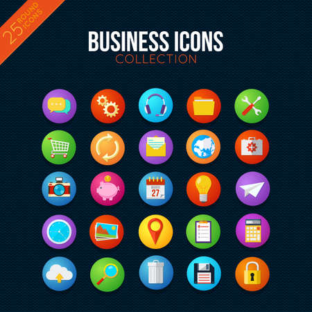 business symbols: Smart watch ui style. 25 vector items.