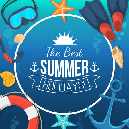 beach ad: Summer tropic vacation background design.