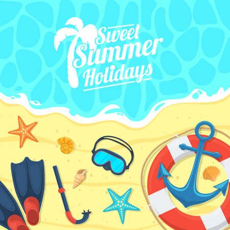 sea shells on beach: Summer tropic vacation background design.