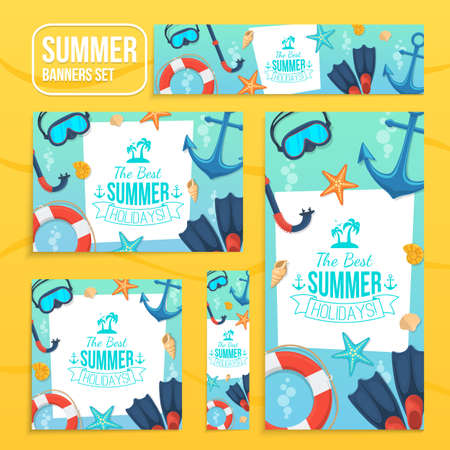 sea shore: Sea shore and swimming accessories. Various formats easy to edit. Illustration