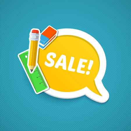 beginning school year: Back to school sale. Colorful school objects and text.