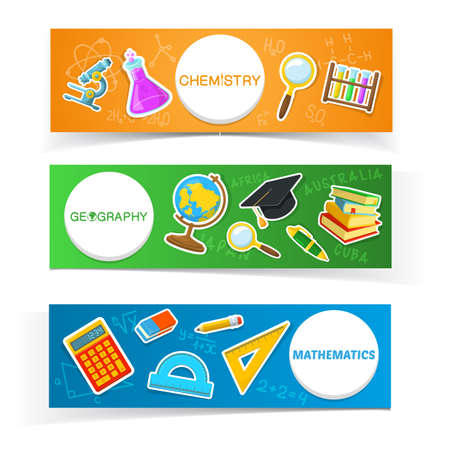 first year student: Education banners design. Colorful school objects and text.
