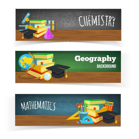 first day of school: Education banners design. Colorful school objects and text.