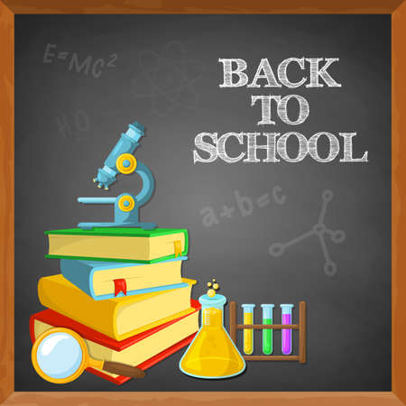 books new books: Education background design. Blackboard and school supplies. Chalk text. Illustration