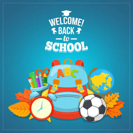 first day of school: Education background design. School year beginning. Colorful vector composition. Illustration