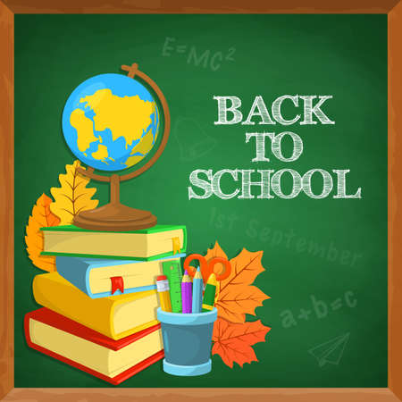 welcome to: Education background design. Blackboard and school supplies. Chalk text. Illustration