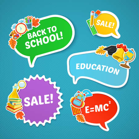 first day of school: Back to school sale. Colorful school objects and text.