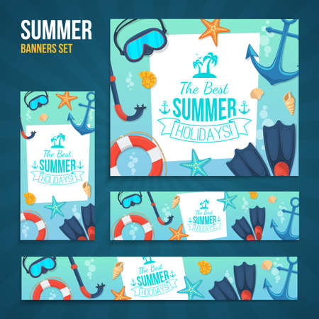 beach ad: Sea shore and swimming accessories. Various formats easy to edit. Illustration
