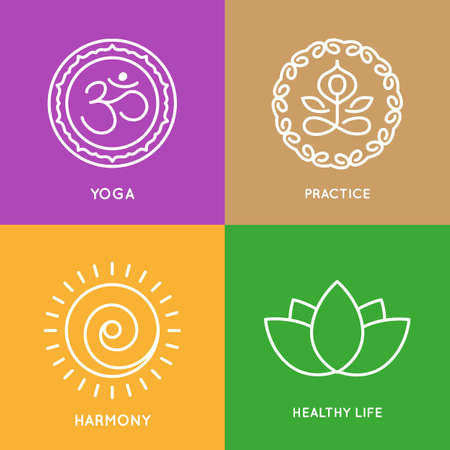 Vector icons set. Graphic design elements in outline style.templates for spa center or yoga studio Ilustração