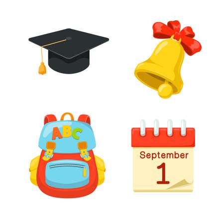 beginning school year: First of September. School year beginning. Education design elements.