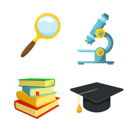 beginning school year: Studying and researching. School year beginning. Education design elements. Illustration