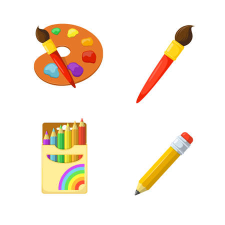 children in class: Children creativity. Painting drawing and coloring. Education design elements.