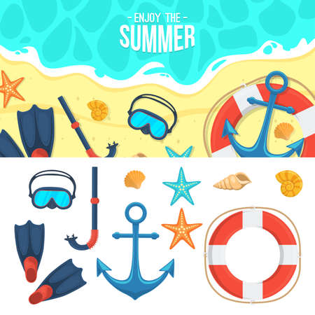 beach ad: Tropic vacation backdrop design. Holiday accessories symbols set. Illustration
