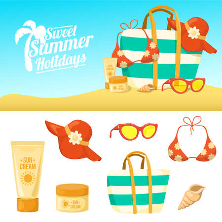 summer vacation: Tropic vacation backdrop design. Holiday accessories symbols set. Illustration
