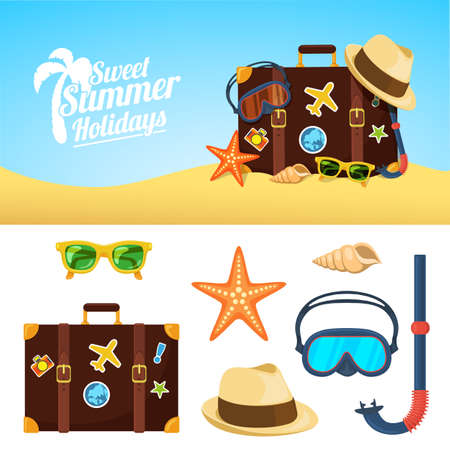 hot summer: Tropic vacation backdrop design. Holiday accessories symbols set. Illustration