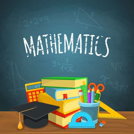 matematica: Diseño del fondo de la Educación. Ciencia composición colorida del vector. Vectores