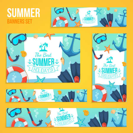 formats: Sea shore and swimming accessories. Various formats easy to edit. Illustration