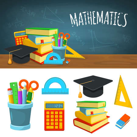 Education background design. Science colorful vector composition.