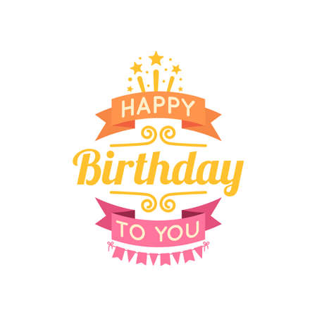 happy birthday design: Holiday text and decorations. Vector element isolated on white.