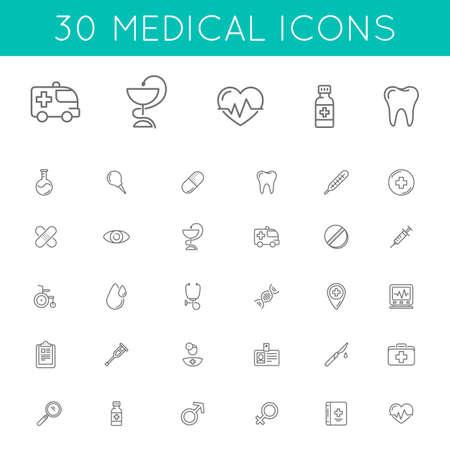 Medicina y Salud símbolos aislados en blanco.