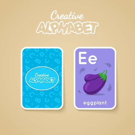 for children: Alphabet double-sided card for children. Colorful illustration.