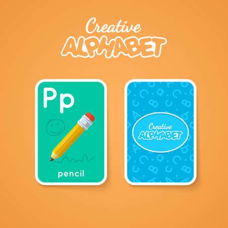 for children: Alphabet double-sided card for children Illustration