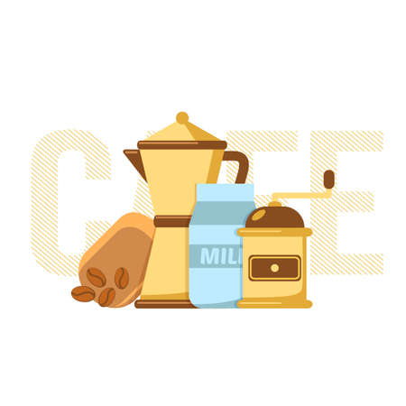 implements: Simple vector illustration of coffee making implements.