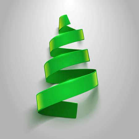 green ribbon: Green ribbon on gray background. Greeting card vector template.