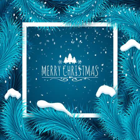 fir  tree: Frozen blue fir tree and text. Greeting card vector template.