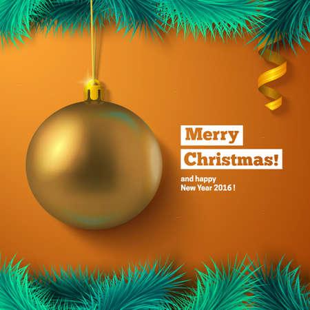 golden ball: Golden ball, fir tree decoration and text. Greeting card vector template.