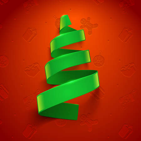 green ribbon: Green ribbon on red background. Greeting card vector template. Illustration