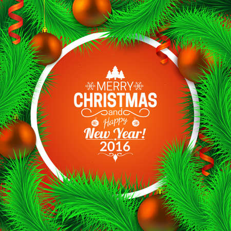 fir  tree: Round shape and fir tree decorations. Greeting card vector template.