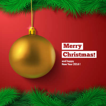red background: Golden ball, fir tree decoration and text. Greeting card vector template.