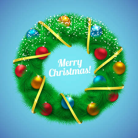 wrath: Holiday fir tree garland with decorations. Greeting card vector template.