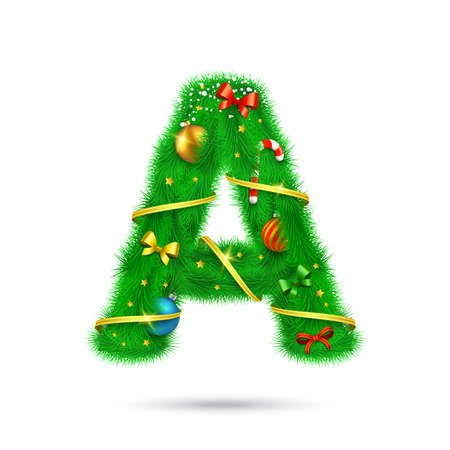 Christmas and New Year holiday alphabet symbol. Vector element.