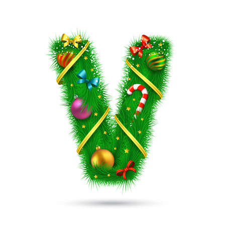 christmas tree decoration: Christmas and New Year holiday alphabet symbol. Vector element.